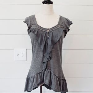 Anthropologie Gray Cute Top Blouse XS Extra Small